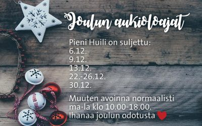 Joulukuun aukioloajat!